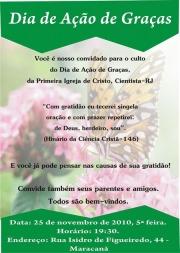 Convite de Ação de Graças da Primeira Igreja do Rio de Janeiro