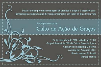 Celebração de Ação de Graças no Rio de Janeiro- RJ
